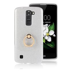 Luxury Soft TPU Glitter Back Ring Cover with 360 Rotate Finger Holder Buckle for LG K8 - White