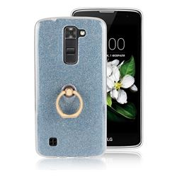 Luxury Soft TPU Glitter Back Ring Cover with 360 Rotate Finger Holder Buckle for LG K8 - Blue