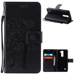 Embossing Butterfly Tree Leather Wallet Case for LG K8 - Black
