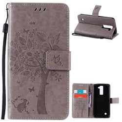 Embossing Butterfly Tree Leather Wallet Case for LG K8 - Grey
