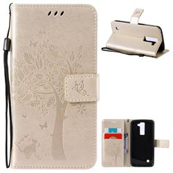 Embossing Butterfly Tree Leather Wallet Case for LG K8 - Champagne