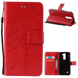 Embossing Butterfly Tree Leather Wallet Case for LG K8 - Red