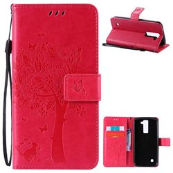 Embossing Butterfly Tree Leather Wallet Case for LG K8 - Rose