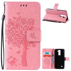 Embossing Butterfly Tree Leather Wallet Case for LG K8 - Pink