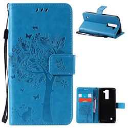 Embossing Butterfly Tree Leather Wallet Case for LG K8 - Blue