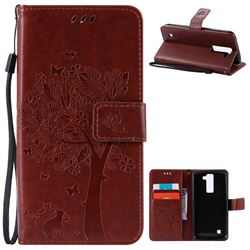 Embossing Butterfly Tree Leather Wallet Case for LG K8 - Brown