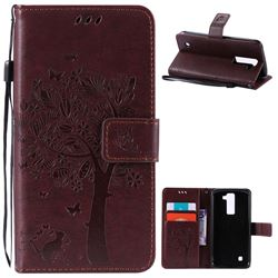 Embossing Butterfly Tree Leather Wallet Case for LG K8 - Coffee