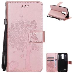 Embossing Butterfly Tree Leather Wallet Case for LG K8 - Rose Pink