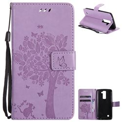 Embossing Butterfly Tree Leather Wallet Case for LG K8 - Violet