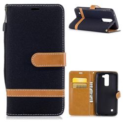 Jeans Cowboy Denim Leather Wallet Case for LG K8 - Black