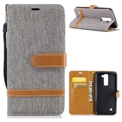 Jeans Cowboy Denim Leather Wallet Case for LG K8 - Gray