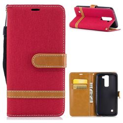 Jeans Cowboy Denim Leather Wallet Case for LG K8 - Red
