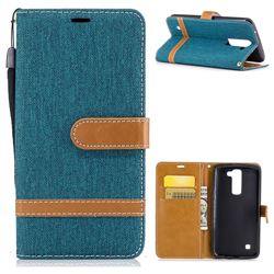 Jeans Cowboy Denim Leather Wallet Case for LG K8 - Green