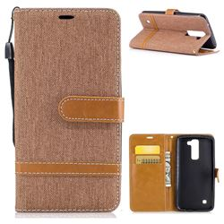 Jeans Cowboy Denim Leather Wallet Case for LG K8 - Brown