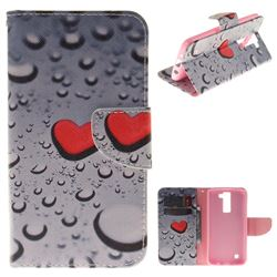 Heart Raindrop PU Leather Wallet Case for LG K8