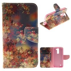 Colored Flowers PU Leather Wallet Case for LG K8
