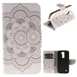 White Flowers PU Leather Wallet Case for LG K8