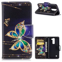 Golden Shining Butterfly Leather Wallet Case for LG K8