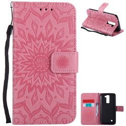 Embossing Sunflower Leather Wallet Case for LG K8 - Pink