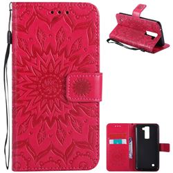 Embossing Sunflower Leather Wallet Case for LG K8 - Red