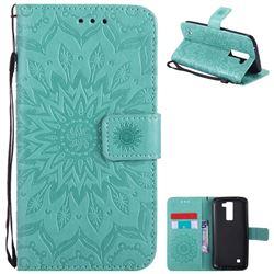 Embossing Sunflower Leather Wallet Case for LG K8 - Green