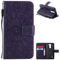 Embossing Sunflower Leather Wallet Case for LG K8 - Purple