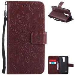 Embossing Sunflower Leather Wallet Case for LG K8 - Brown