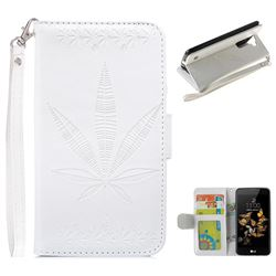 Intricate Embossing Maple Leather Wallet Case for LG K8 - White