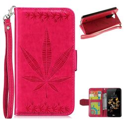 Intricate Embossing Maple Leather Wallet Case for LG K8 - Rose