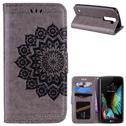 Datura Flowers Flash Powder Leather Wallet Holster Case for LG K8 - Gray