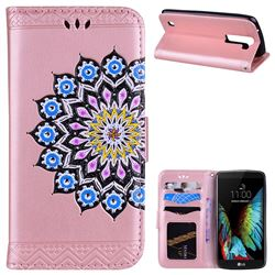 Datura Flowers Flash Powder Leather Wallet Holster Case for LG K8 - Pink