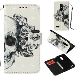 Skull Flower 3D Painted Leather Wallet Case for LG K8