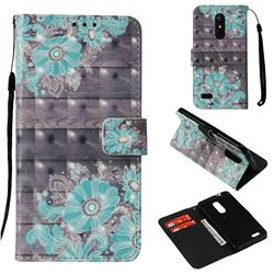 Blue Flower 3D Painted Leather Wallet Case for LG K8