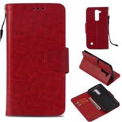 Retro Phantom Smooth PU Leather Wallet Holster Case for LG K8 - Red