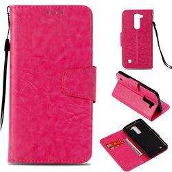 Retro Phantom Smooth PU Leather Wallet Holster Case for LG K8 - Rose