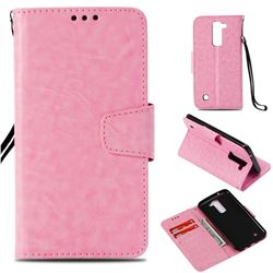 Retro Phantom Smooth PU Leather Wallet Holster Case for LG K8 - Pink