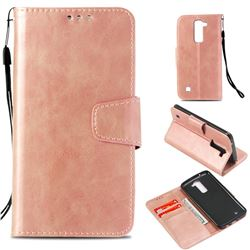 Retro Phantom Smooth PU Leather Wallet Holster Case for LG K8 - Rose Gold