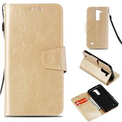 Retro Phantom Smooth PU Leather Wallet Holster Case for LG K8 - Champagne