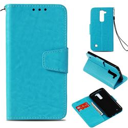 Retro Phantom Smooth PU Leather Wallet Holster Case for LG K8 - Sky Blue