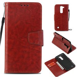 Retro Phantom Smooth PU Leather Wallet Holster Case for LG K8 - Brown
