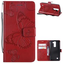 Embossing 3D Butterfly Leather Wallet Case for LG K8 - Red