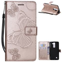 Embossing 3D Butterfly Leather Wallet Case for LG K8 - Rose Gold