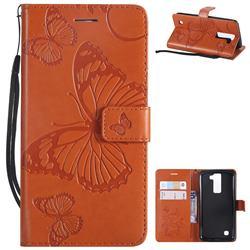 Embossing 3D Butterfly Leather Wallet Case for LG K8 - Orange