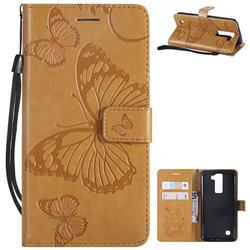 Embossing 3D Butterfly Leather Wallet Case for LG K8 - Yellow