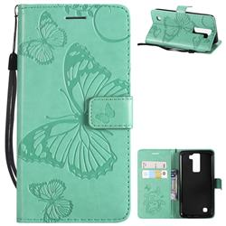 Embossing 3D Butterfly Leather Wallet Case for LG K8 - Green