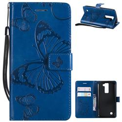 Embossing 3D Butterfly Leather Wallet Case for LG K8 - Blue