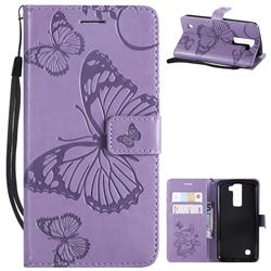 Embossing 3D Butterfly Leather Wallet Case for LG K8 - Purple
