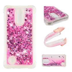 Dynamic Liquid Glitter Sand Quicksand TPU Case for LG K8 2017 M200N EU Version (5.0 inch) - Pink Love Heart