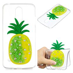 Green Pineapple Liquid Quicksand Soft 3D Cartoon Case for LG K8 2017 M200N EU Version (5.0 inch)