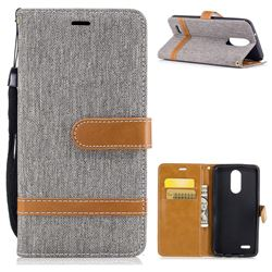 Jeans Cowboy Denim Leather Wallet Case for LG K8 2017 M200N EU Version (5.0 inch) - Gray